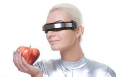 Cyber woman with an apple Stock Image