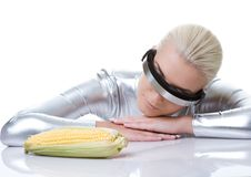 Cyber woman with a corn Stock Photography