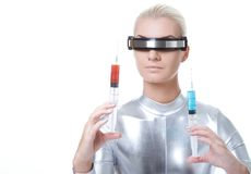 Cyber woman with different syringe Stock Photo