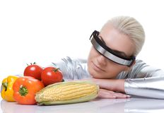 Cyber woman with different vegetables Royalty Free Stock Image