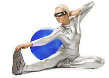 Cyber woman doing stretching exercise Stock Photos