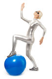 Cyber woman with fitness ball Stock Photography