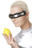 Cyber woman with fresh lemon Stock Images