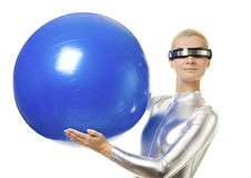 Cyber woman holding fitness ball stock images