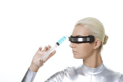 Cyber woman making botox injection Stock Photo
