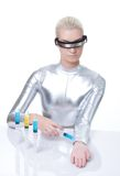 Cyber woman making injection Stock Images