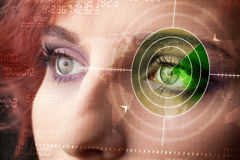 Cyber woman with modern military target eye Royalty Free Stock Image