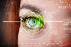 Cyber woman with modern military target eye Royalty Free Stock Photo