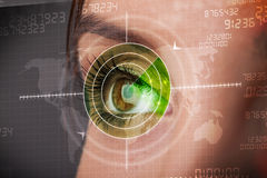 Cyber woman with modern military target eye Royalty Free Stock Images