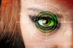 Cyber woman with modern military target eye Royalty Free Stock Photography