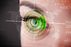 Cyber woman with modern military target eye Stock Image