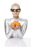 Cyber woman with oranges Stock Photos