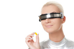 Cyber woman with a pill Stock Images