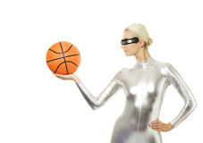Cyber woman playing basketball Royalty Free Stock Photos