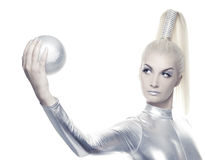 Cyber woman with silver ball Royalty Free Stock Photography