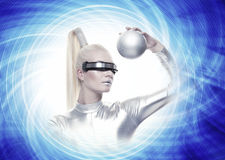 Cyber woman with a silver ball Stock Images