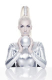 Cyber woman with silver ball Stock Image