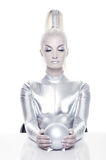 Cyber woman with silver ball Stock Photography