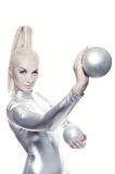 Cyber woman with silver balls. Beautiful cyber woman with silver balls stock photo