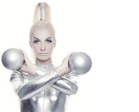 Cyber woman with silver balls. Beautiful cyber woman with silver balls stock image