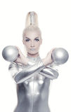 Cyber woman with silver balls Stock Photography