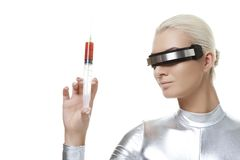 Cyber woman with syringe Stock Image