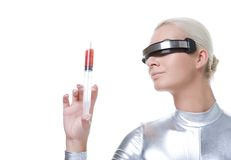 Cyber woman with syringe Royalty Free Stock Photos