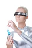 Cyber woman with syringe Stock Photography
