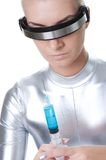 Cyber woman with syringe Stock Photos