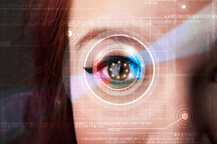 Cyber woman with technolgy eye looking Stock Images