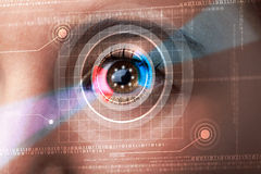 Cyber woman with technolgy eye looking Royalty Free Stock Photos