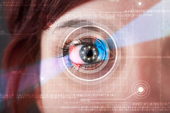 Cyber woman with technolgy eye looking Royalty Free Stock Images