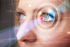 Cyber woman with technolgy eye looking Royalty Free Stock Image