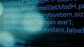 Cyberaanval in cyberspace, besmette computer royalty-vrije illustratie