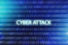 Cyberangriff - Wörter auf Blau verwischten binär Code-Hintergrund, Internet-Sicherheit und das Zerhacken in Cyberspace Lizenzfreie Stockfotografie