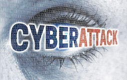 Cyberattack eye with matrix looks at viewer concept Royalty Free Stock Photo