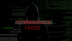 Cyberattack failed, unsuccessful attempt to hack server, disappointed criminal. Stock footage stock footage