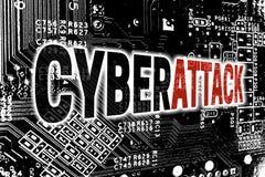 Cyberattack mit Leiterplatte-Konzepthintergrund Stockbild