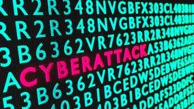 Cyberattack rojo de la palabra que brilla intensamente en una pared negra rodeada por el verde fotos de archivo