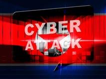 Cyberattack vid den Nordkorea 3d illustrationen vektor illustrationer