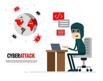Cyberattackbegrepp En hacker som överför virusattack världen stock illustrationer