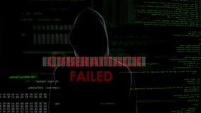 Cyberattacken missade, det mislyckade försöket att hacka serveren, besviken brottsling arkivfilmer