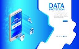 Cyberbrott och bakgrund för dataskydd med smartphonen stock illustrationer