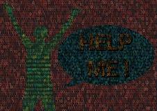 Cyberbullying-Mann geschlagen in der Cyber-Welt lizenzfreie abbildung