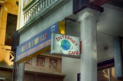 Cybercaffè, Maputo, Mozambico fotografie stock