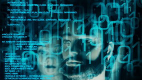 Cybercrime στον κόσμο cyber, αφηρημένο υπόβαθρο ρομπότ Ασφαλής έννοια Cyber απόθεμα βίντεο