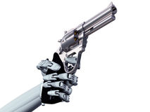 Cybercrime. Illustration of a robot pointing a deadly handgun Stock Image