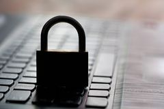 Cybercrime. Computer keyboard and padlock as a symbol of Internet security Royalty Free Stock Photography