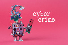 Cybercrime and data hacking concept. Retro robot with usb flash storage stick, stylish computer character blue eyed head royalty free stock image