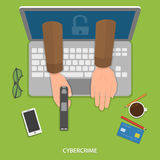 Cybercrime flat vector concept. Stock Photography